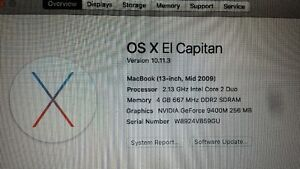 tres bonne portable 2009 macbook 2.13ghz  Nvidia  ElCapitan