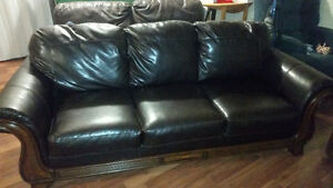 Leather Wood Trim Couch