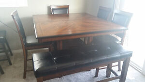 Pub Height Dining Table With Chairs and Bench