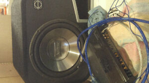 """Kenwood Amp and 12"""" sub in box"""