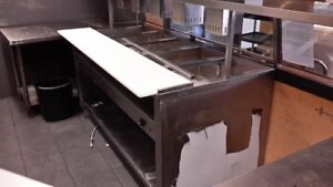 Stainless steel steam table, 5 comp
