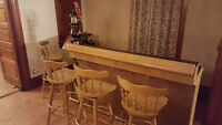 Wet bar VIDEO with keg fridge, two beer spouts, and four stools