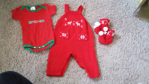 3-6 month Christmas clothing and booties Kitchener / Waterloo Kitchener Area image 1