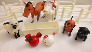 Vintage Fisher Price Farm Barn Animals and Fences