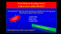 Need A Stats or a Score Keeper? Call or Text: (416) 316-1217