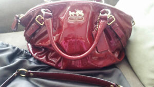 Patent Leather Raspberry and Gold COACH sophia satchel