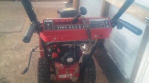 Gas snowblower with electric start and pull start