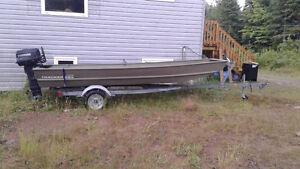 jonboat whit trailer 20hp motor