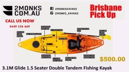 2Monks 3.1M Glide: Sit-On 1.5 Seater Fishing Kayak