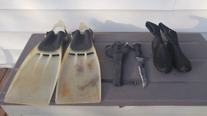 Diving Fins, Boots, Knife and Bag for Sale