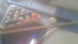 Pool table cue and play balls with sticks for sale!