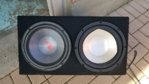 "Sub woofer box with two 10"" speakers"