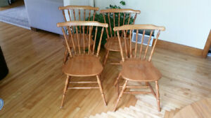 Solid maple dining chairs (four)