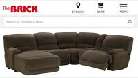 Brown Microsuede 5 Piece Sectional