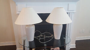 Set of Beige ceramic lamps (shades included)