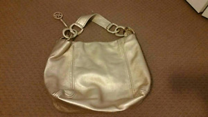 Michael kors gold leather hobo purse