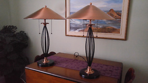 Two Copper Table Lamps for Sale