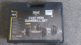 18kg cast iron dumbell set.