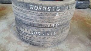 Pair of 2 Starfire RSC20 205/55R16 tires (70% tread life)