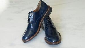 New-Women-039-s-Ferragamo-Patent-Blue-Lace-Up-Shoes-Oxfords-9-5-M-SOLD-OUT-650