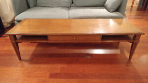 Vintage Wood Coffee Table w/drawer and 2 storeage areas