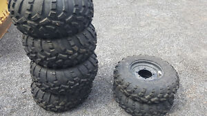 *(2) 25x8.00 (4) 25x11-12NHS ATV Tires on Rims NEW*