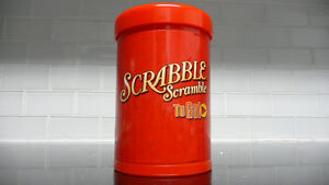 SCRABBLE TO GO Travel size game in cute red can - new & complete