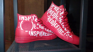 Selling Limited Edition RED CONVERSE shoes $80 size 7M 9F