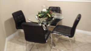 Modern Chrome and Glass  Kitchen Table and 4 chairs for sale