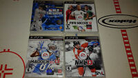 JEUX PS3 (MLB 10 THE SHOW/FIFA SOCCER 12/MADDEN NFL 13/NHL 13)