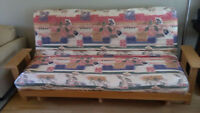 Futon - solid wooden frame with mattress and cover
