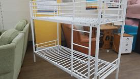 White metal bunk bed frame