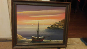 For sale painting of boat in time of sunset