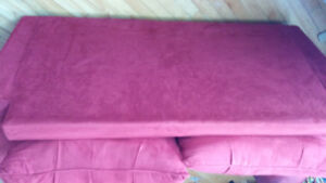Red Couch and love seat