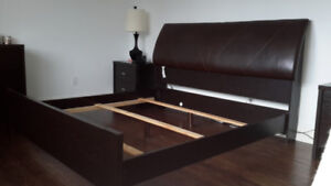 King size bed frame, headboard and box spring