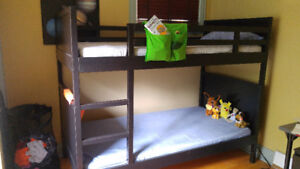 IKEA Norddal Bunk Bed - Frame and Mattress - Black/Brown Twin