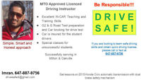 MTO approved and licensed driving instructor. Milton & Oakville