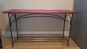 Wine stained rod iron end tables with matching couch table