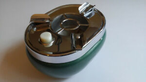 Vintage Ashtray Push Button Trap Door Metal and Chrome