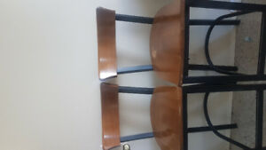 Rod iron and solid wood bar stools