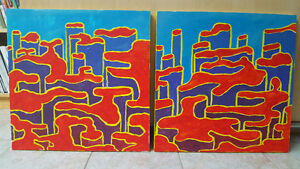 Pair of 2 Abstract Acrylic paintings