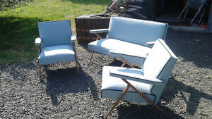 Vintage Mid Century Modern Patio Sun Room Couch and Chairs Set