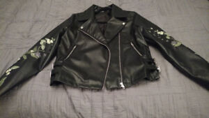 Embroidered Faux Leather Jacket -Misguided - Med- Like New