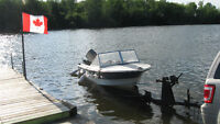 14' Crestliner Runabout Boat motor and trailer