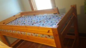 solid wood loft bed with mattress and memory foam topper