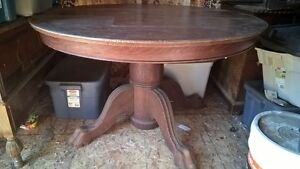 Antique dining table with leaf and 4 chairs