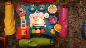 Fisher Price and Playskool push toy, music table, projector, etc