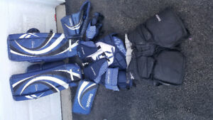 Goalie gears pads, bloker, gloves, chest protector, pants, cup