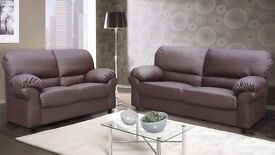 SANDY LEATHER 3+2 SEATER SUITE SOFA - BLACK/BROWN - COMFORTABLE, HIGH BACK FIXED CUSHIONS SOFA