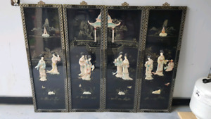 Vintage Asian mother of pearl wall art